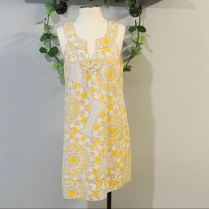 Ann Taylor Loft light gray & yellow dress size 8